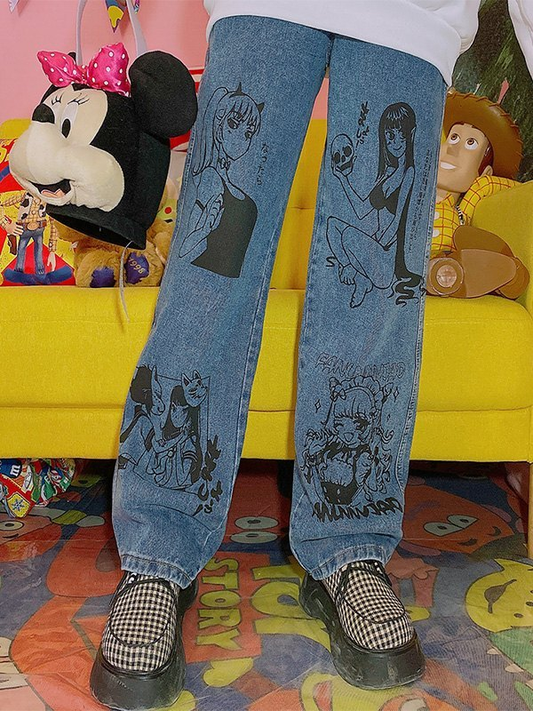 Anime Print Mom Jeans - Blue M