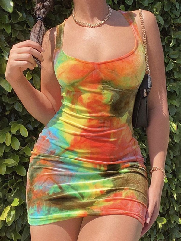 Tie-Dye Bodycon Mini Dress - Orange M