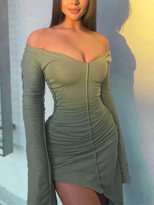 Irregular Long Sleeve Dress - Green L