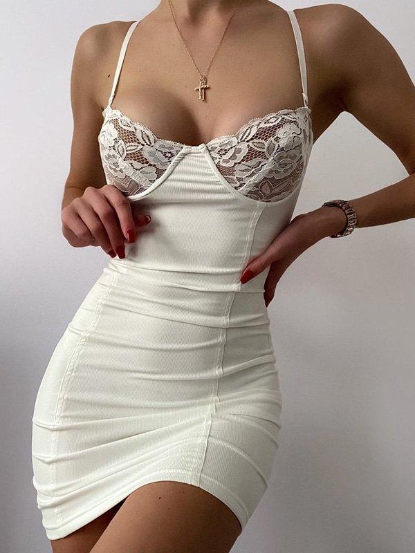 Lace Paneled Bodycon Mini Dress - White L