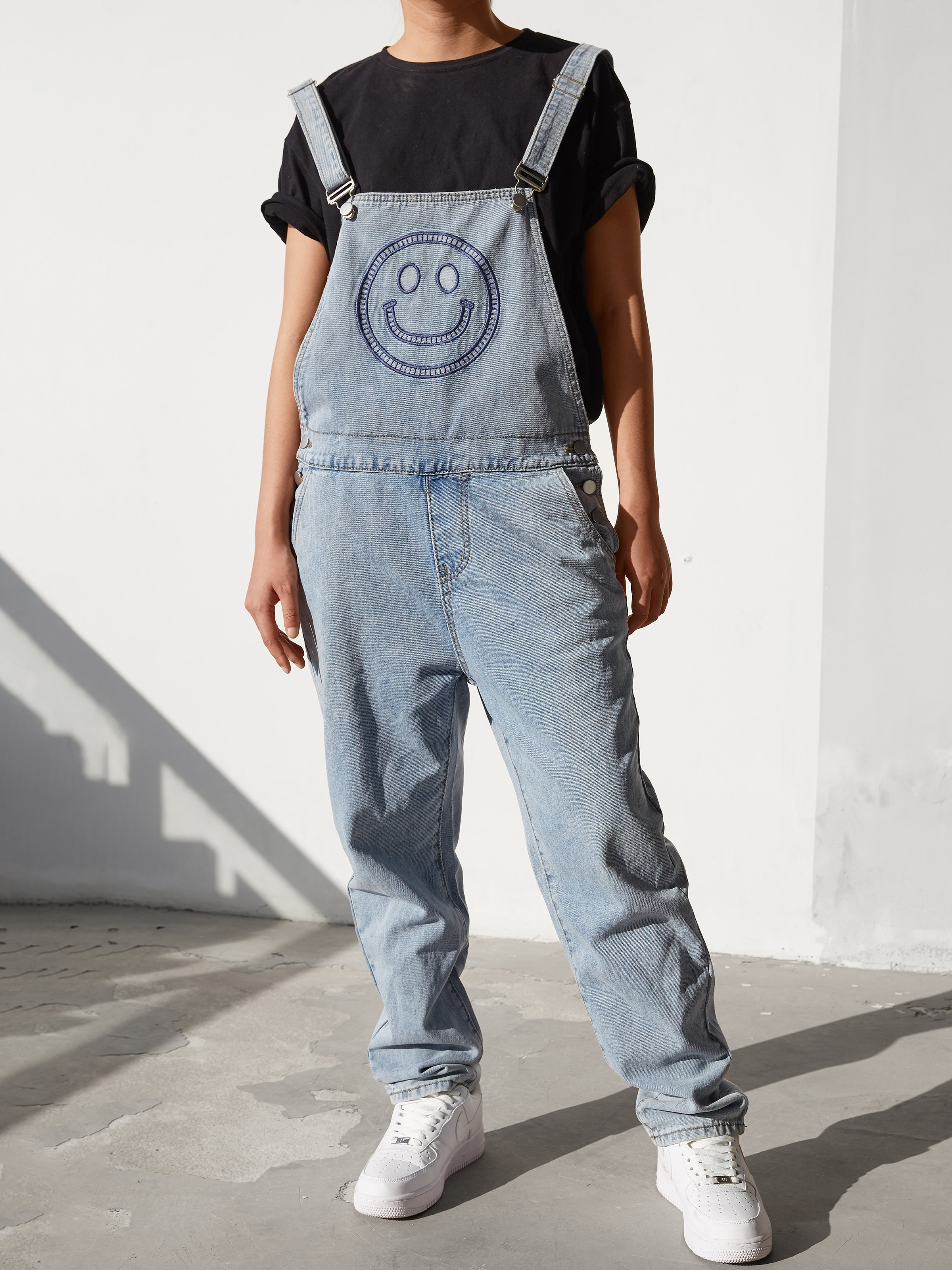Smiley Face Embroidered Overall - Blue XL