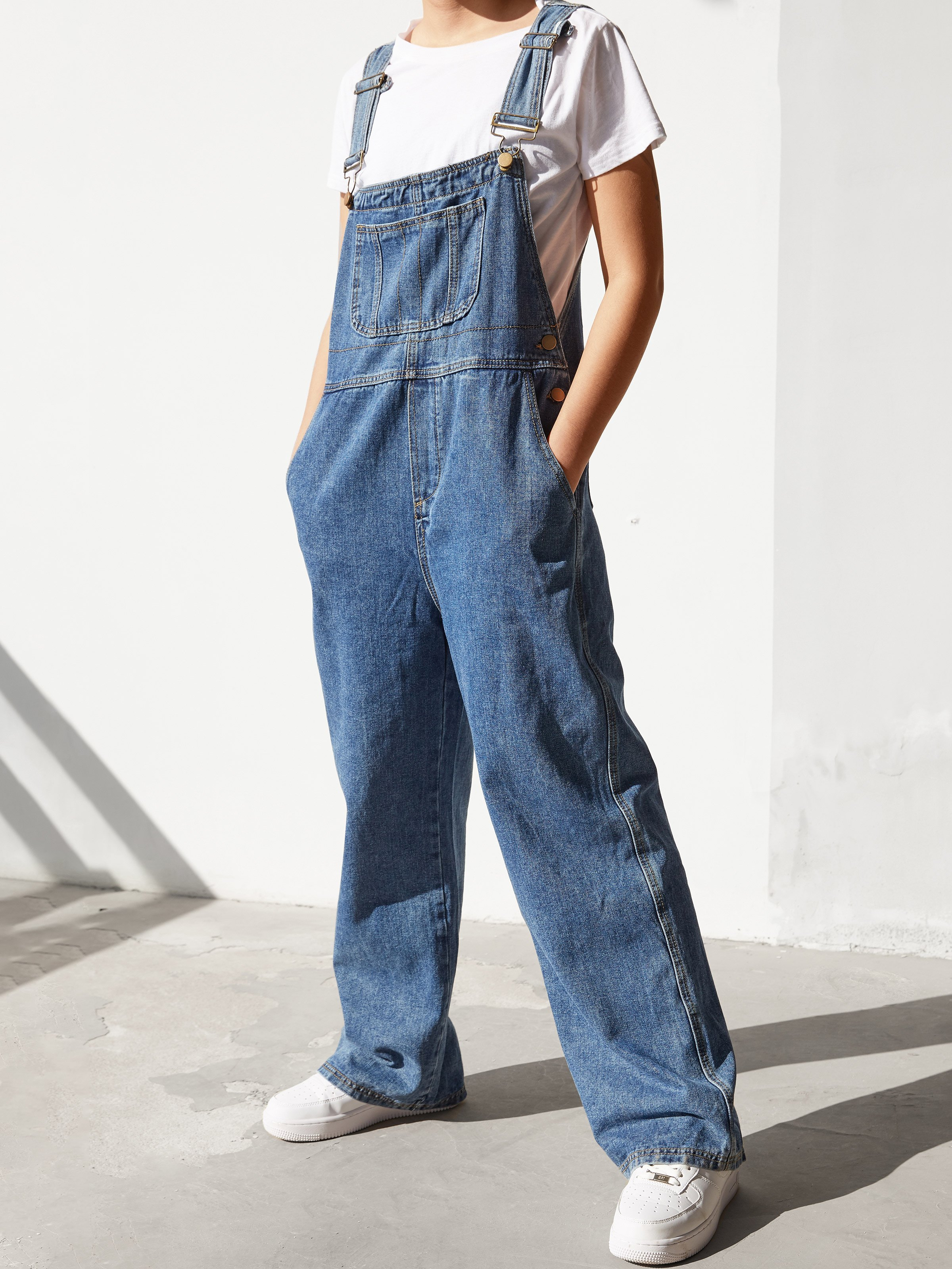 Basic Wide Leg Overall - Navy Blue L