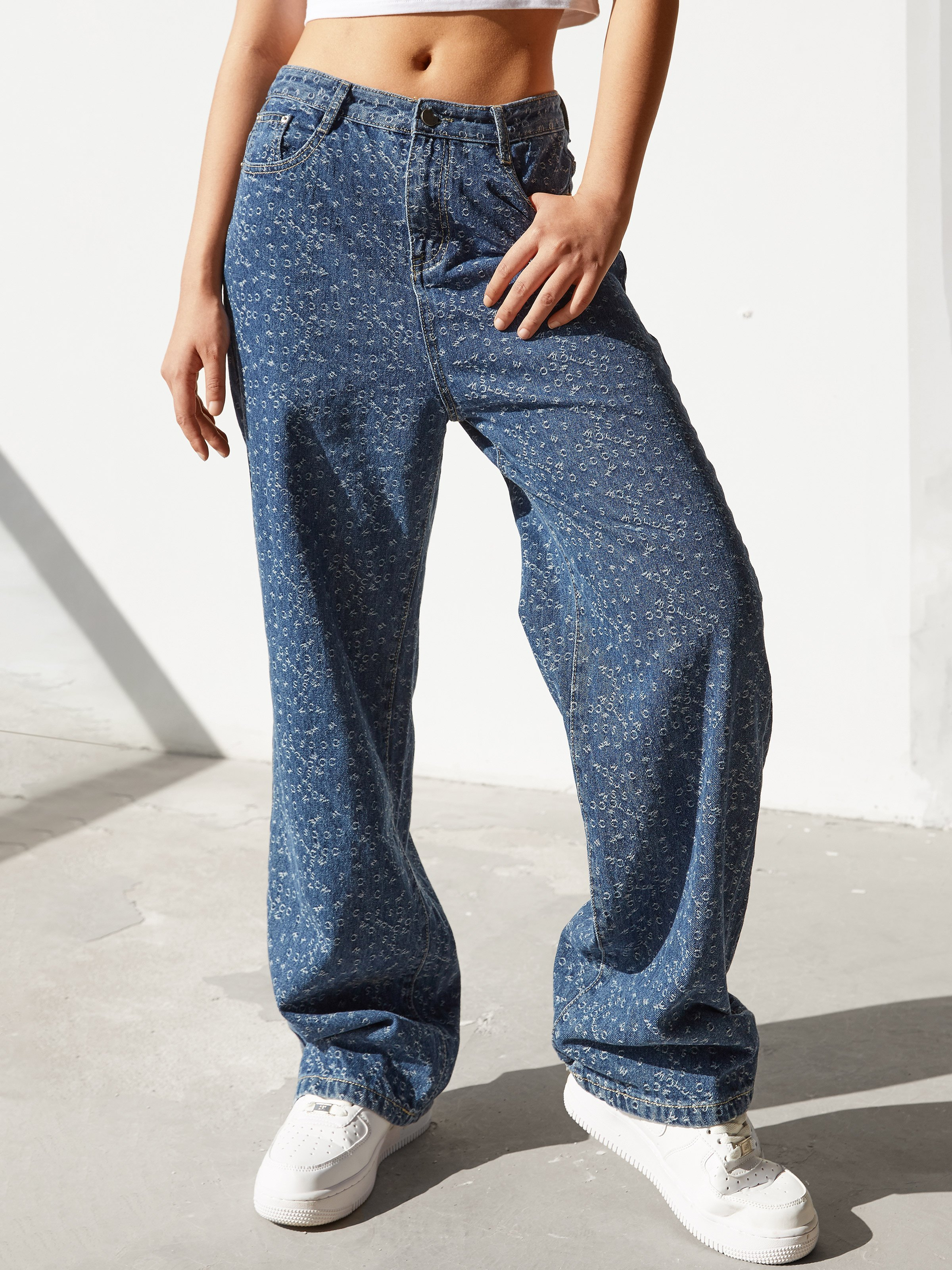 Printed All Over Mom Jeans - Blue M