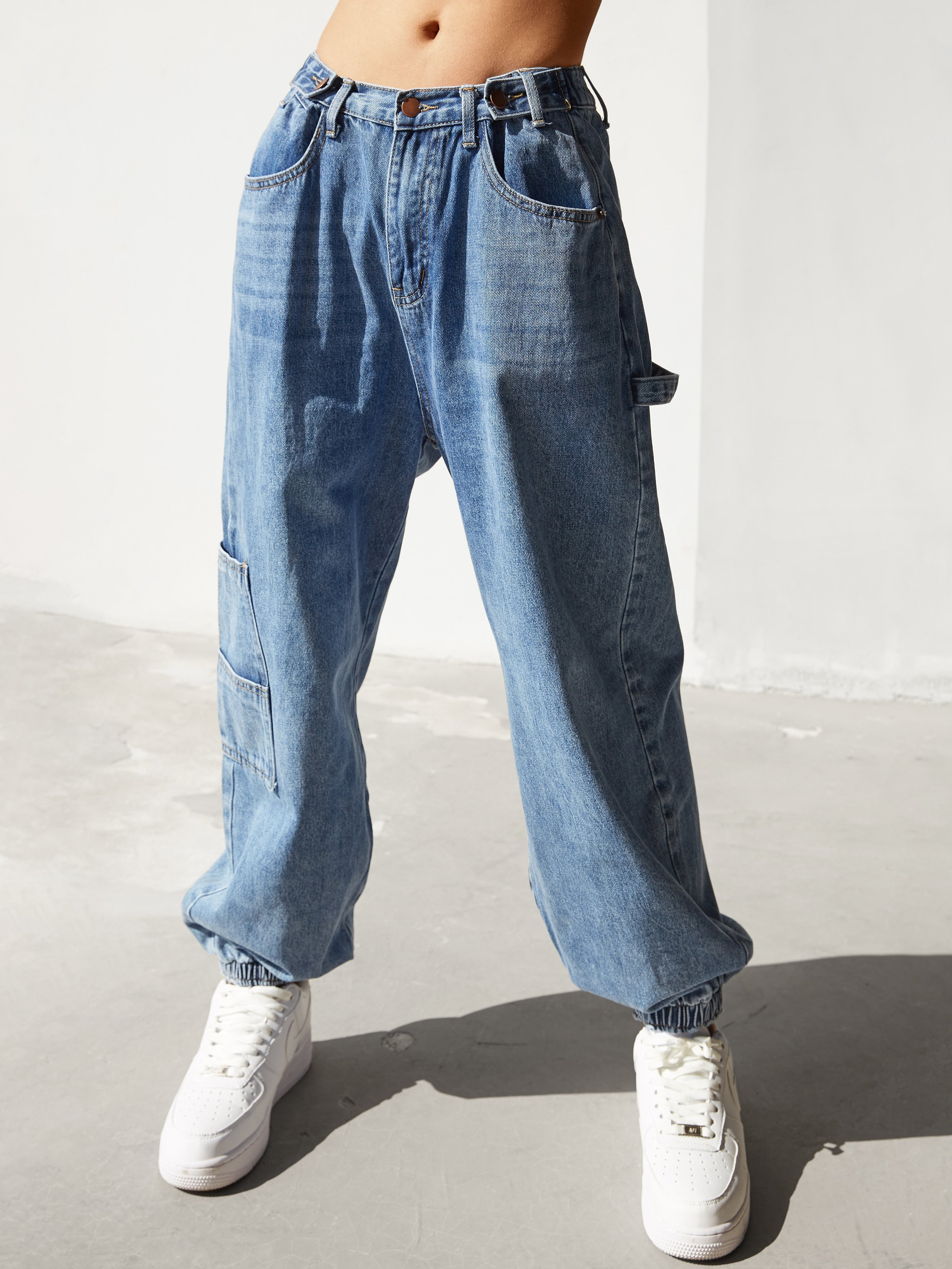High Waist Tapered Cargo Jeans - Blue L