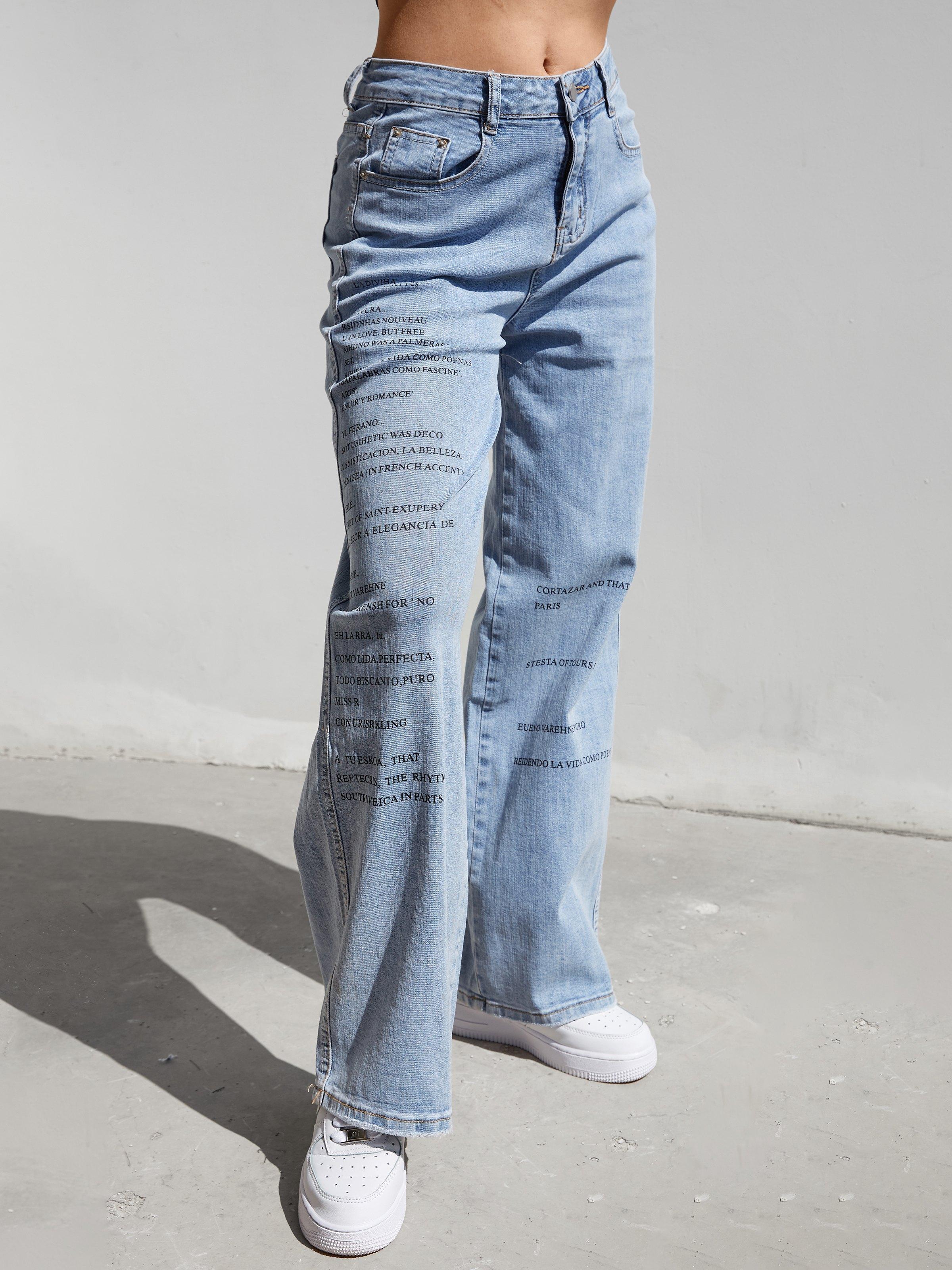 Slogan Print Washed Mom Jeans - Blue L