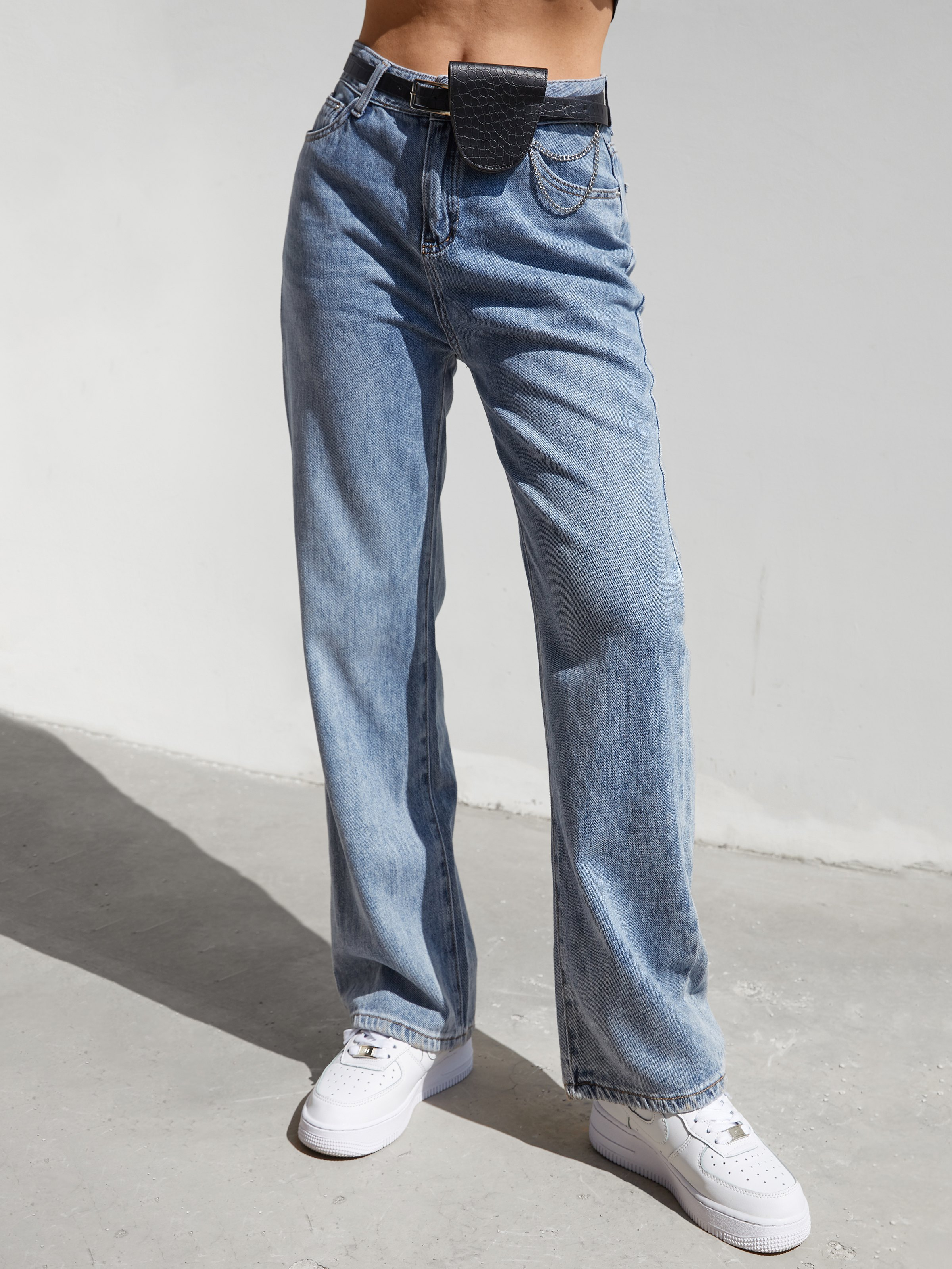 Washed Straight Mom Jeans - Blue S