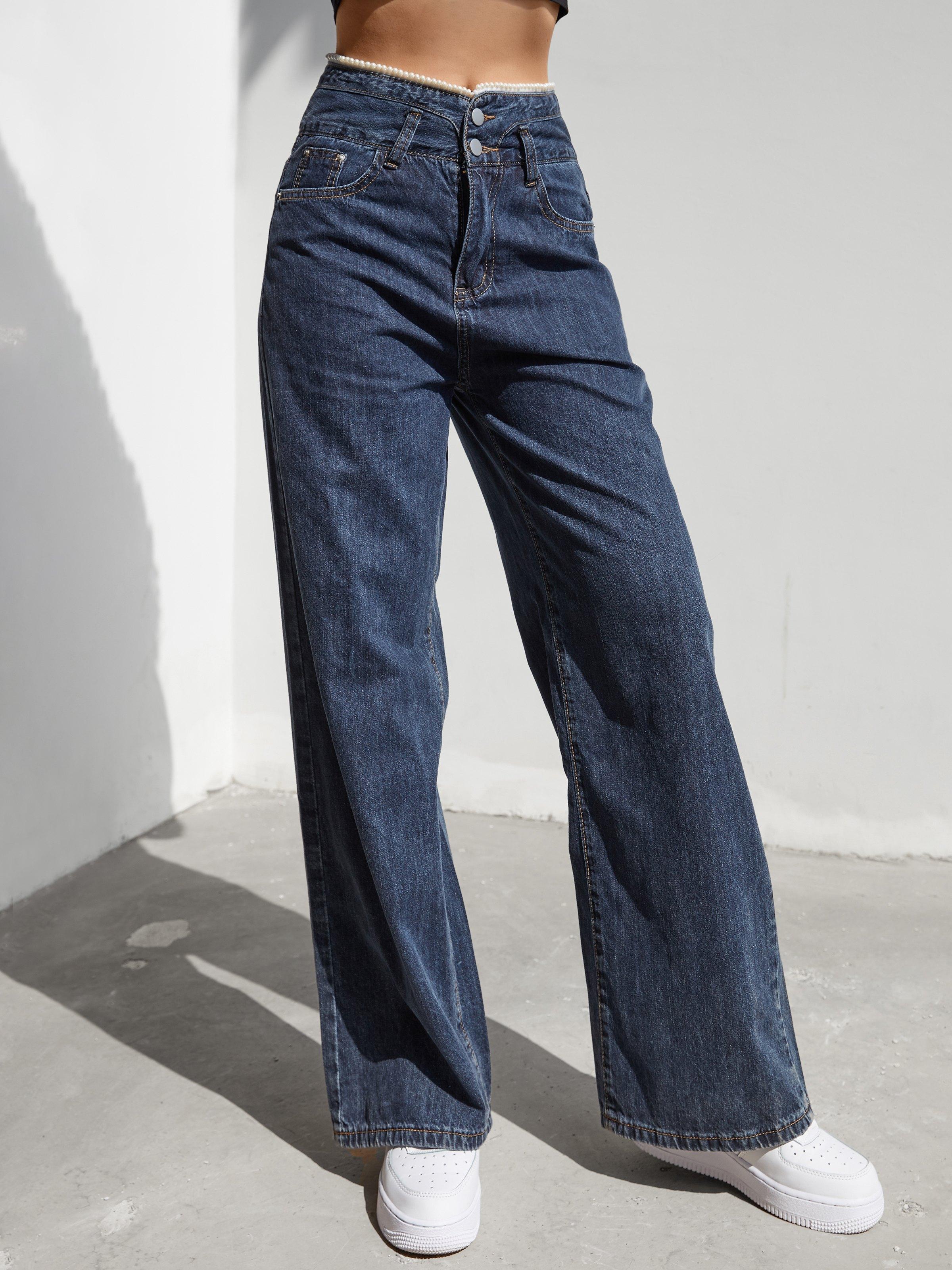 Lace Trim High Waist Mom Jeans - Navy Blue L