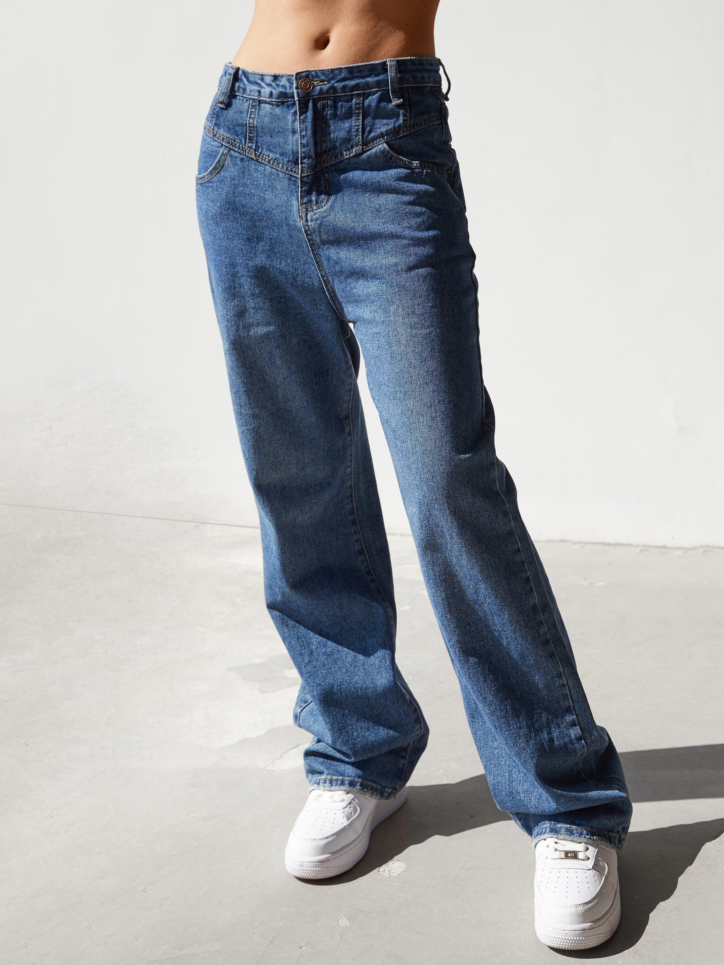 Splice Straight Mom Jeans - Blue M