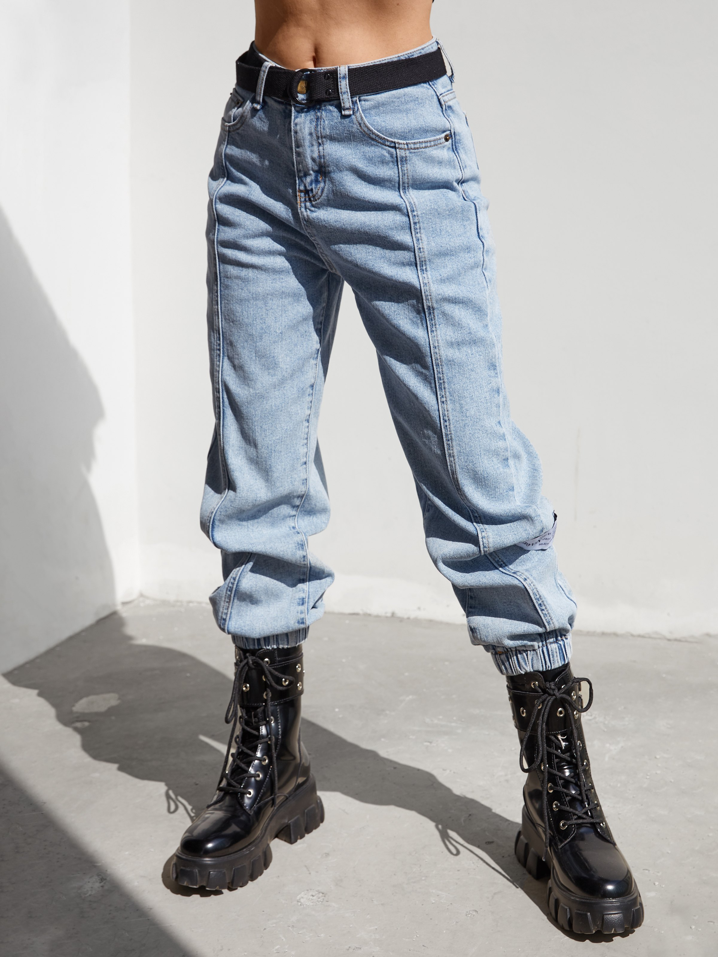 Splice Belted Cargo Jeans - Blue M