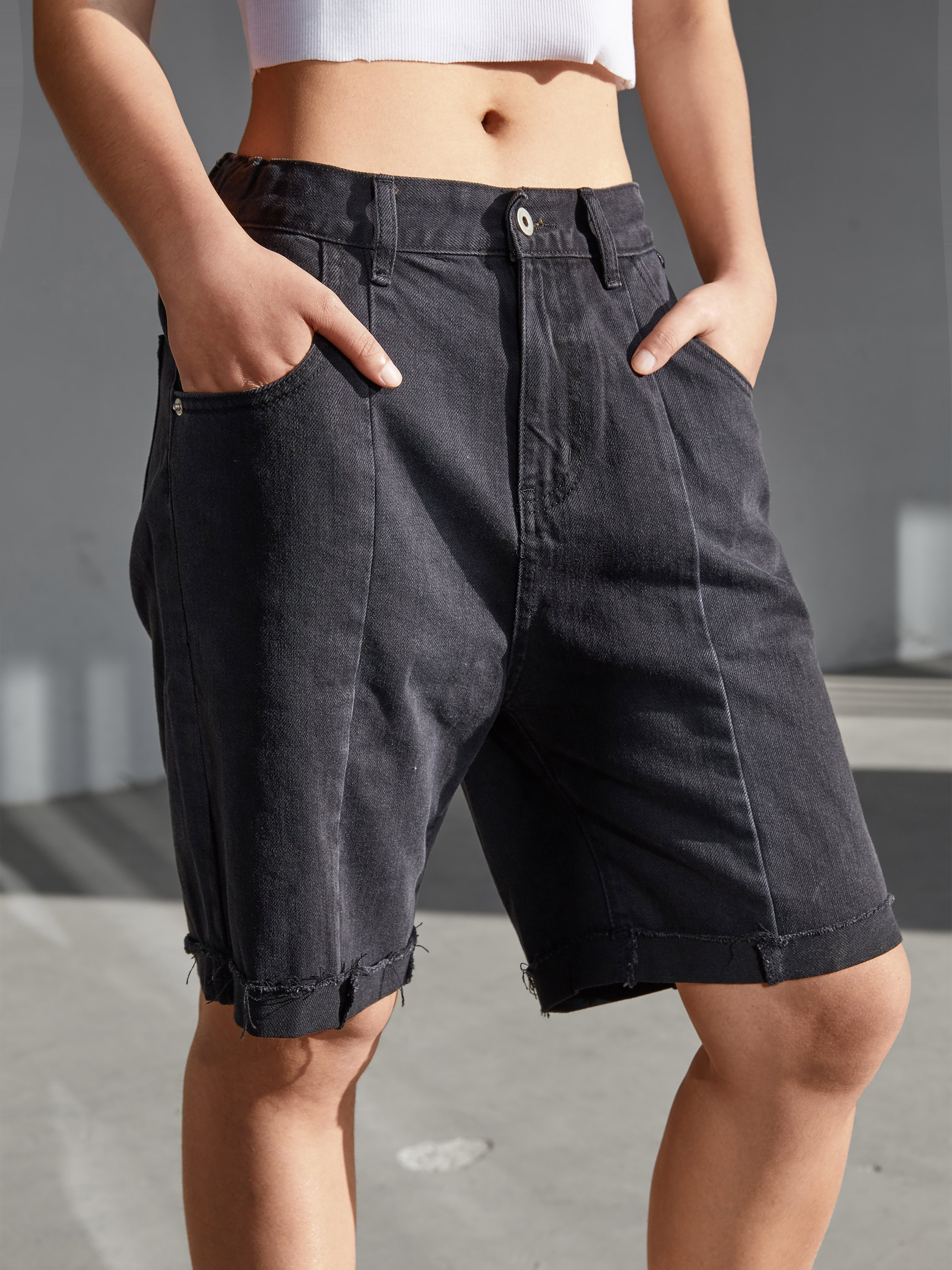 Splice High Waist Denim Shorts - Black XL
