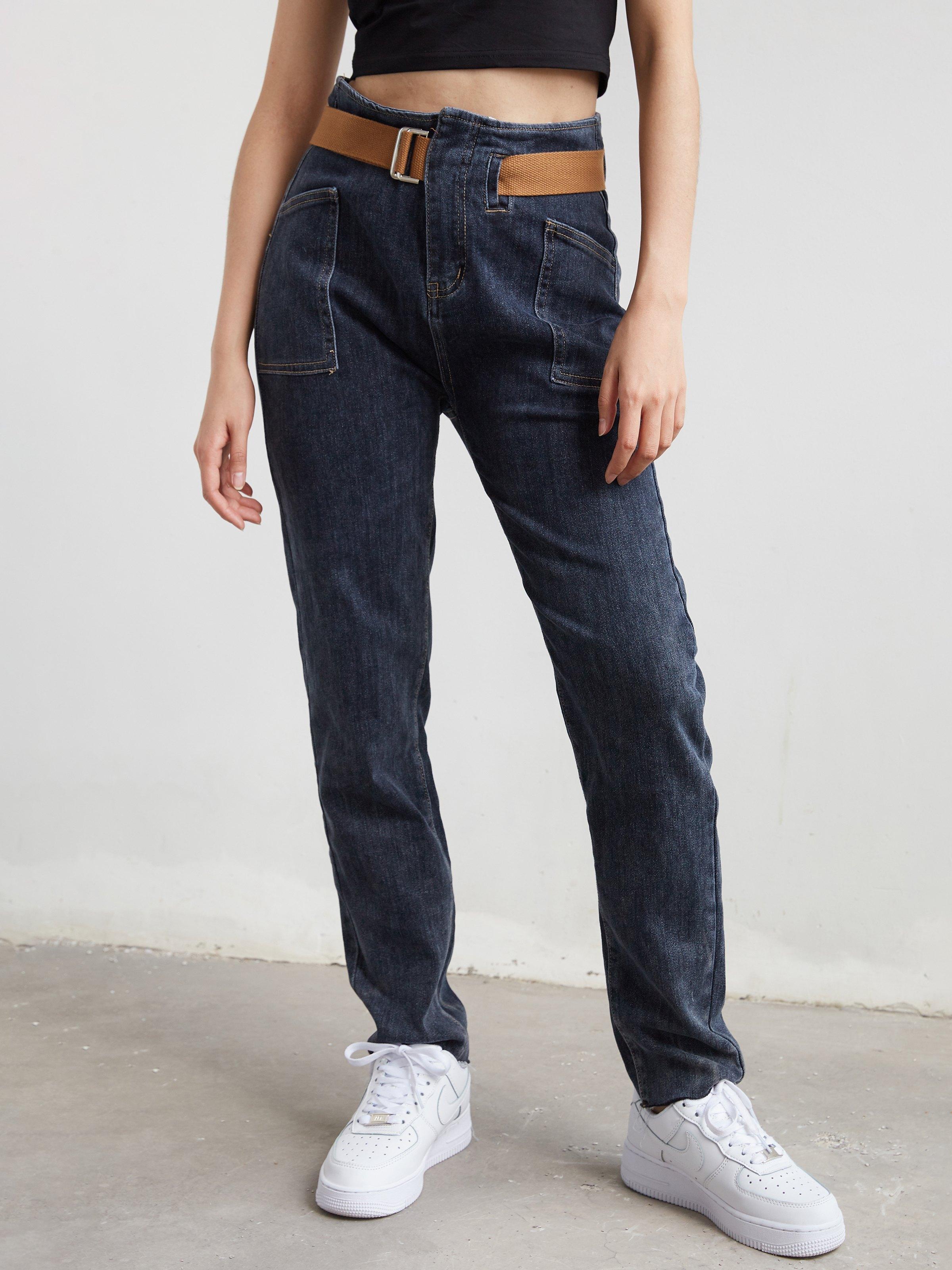 Belt Detail Cargo Jeans - Navy Blue L