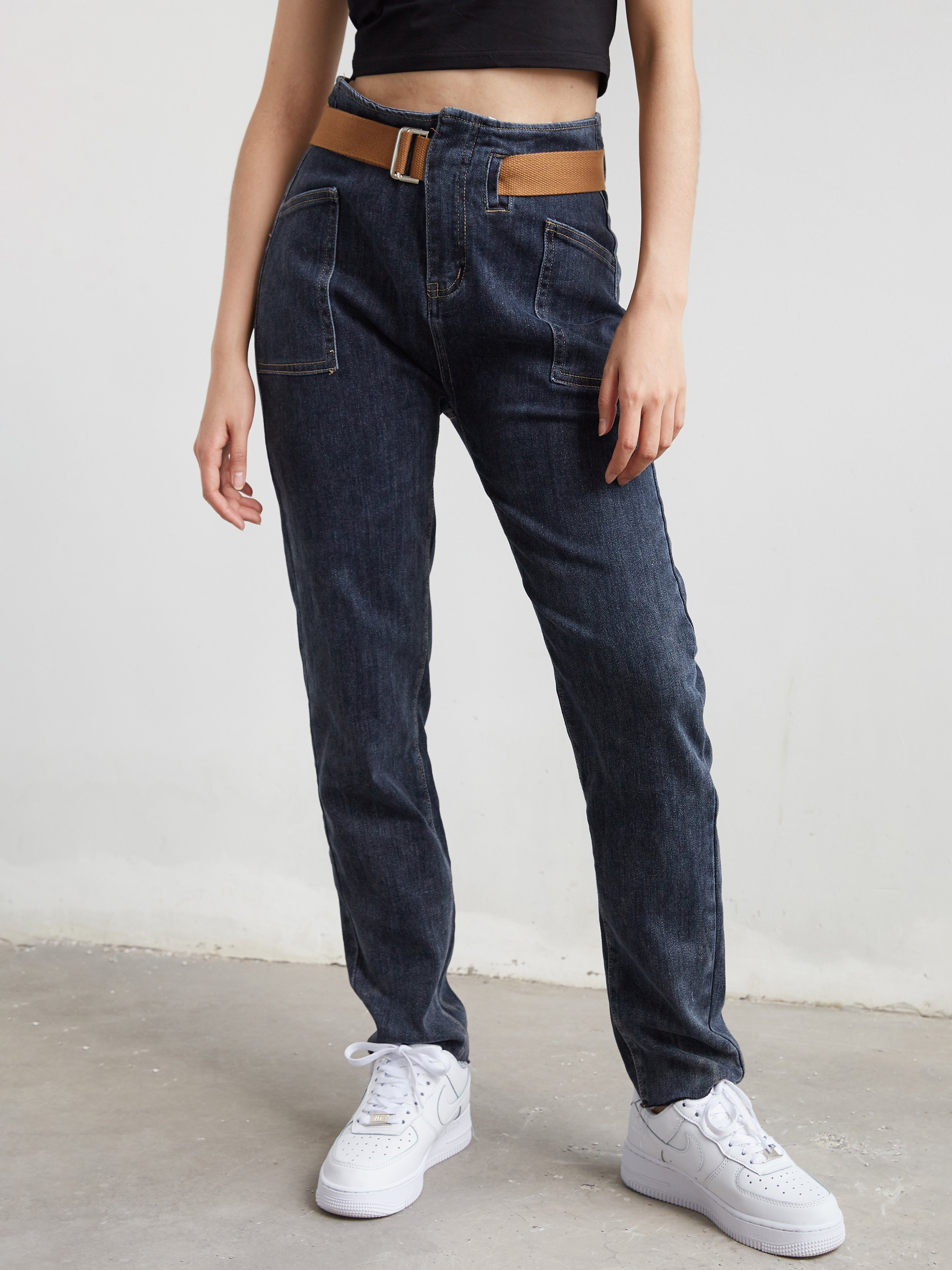 Belt Detail Cargo Jeans - Navy Blue M