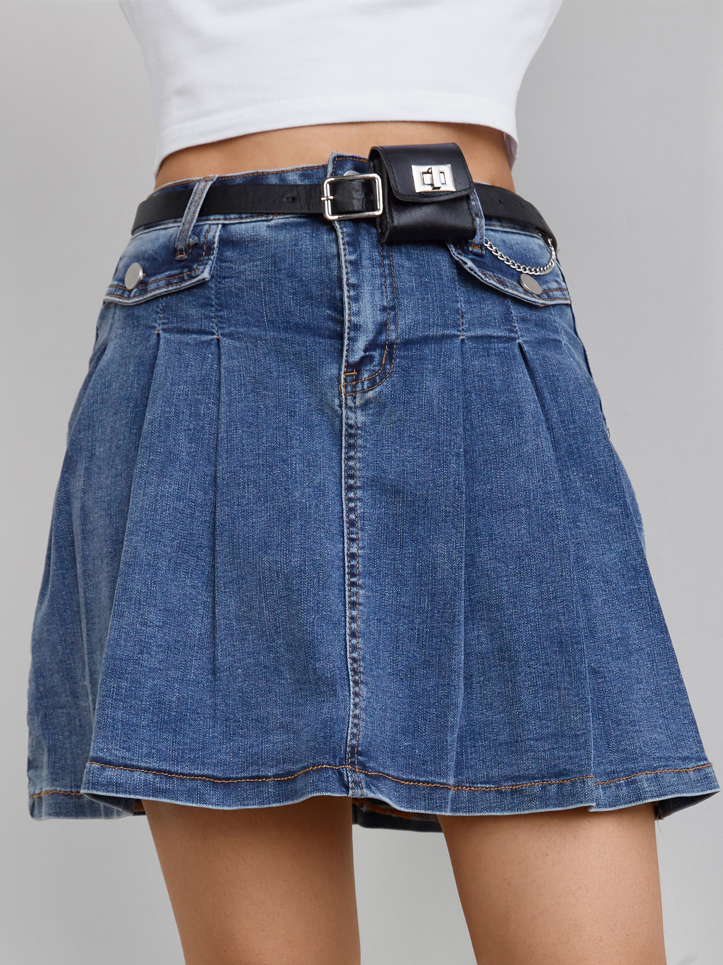 Pleated Denim Mini Skirt - Blue S