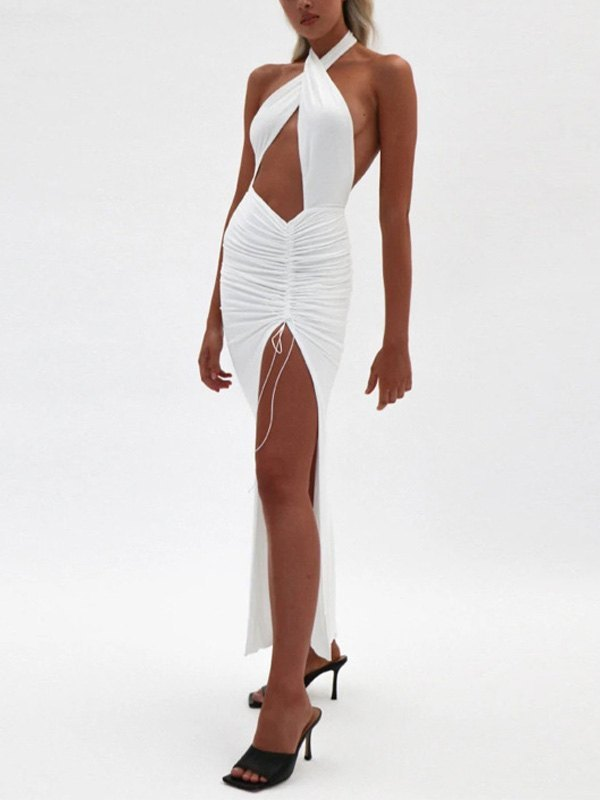 Halter Split Party Maxi Dress - White S
