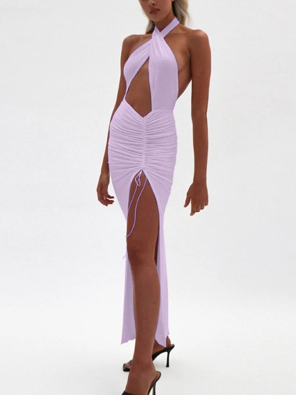 Halter Split Party Maxi Dress - Purple S