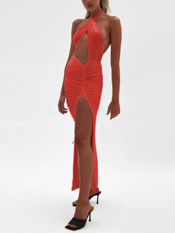 Halter Split Party Maxi Dress - Red XL