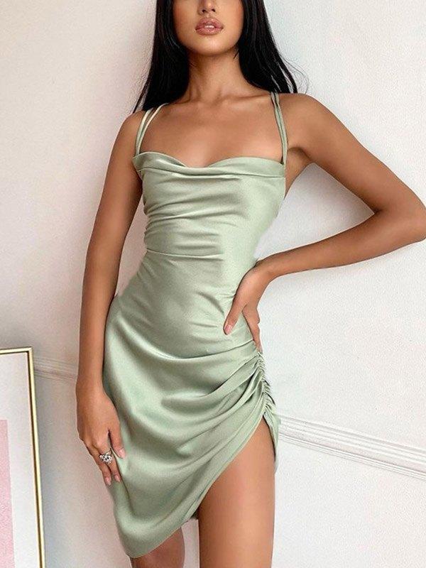 Satin Cross Back Mini Dress - Green S