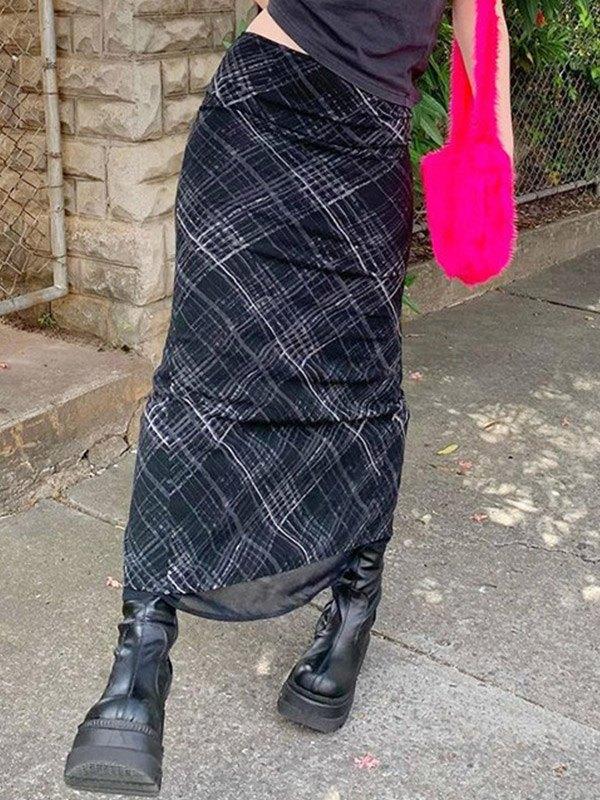 Layered Checked Midi Skirt - Black S