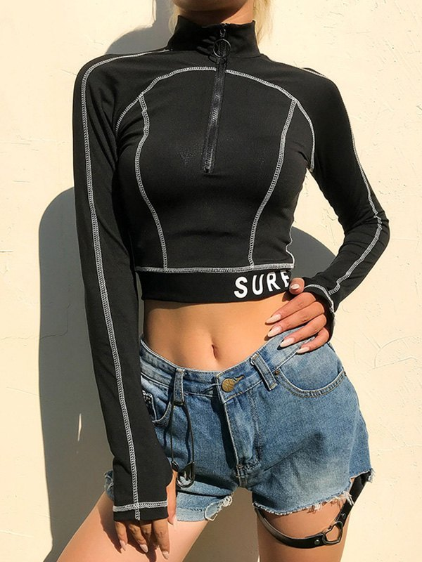 Half Zip Long Sleeve Crop Top - Black S
