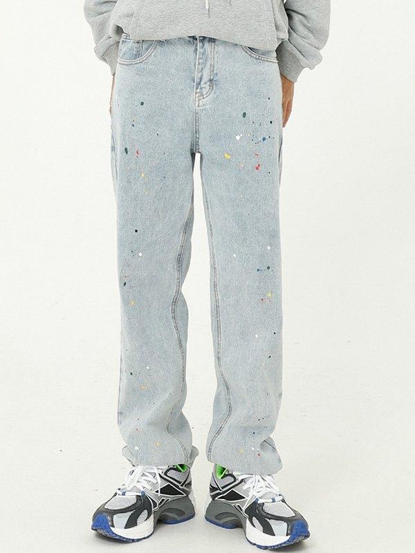 Men's Splash Painted Straight Jeans - Blue L