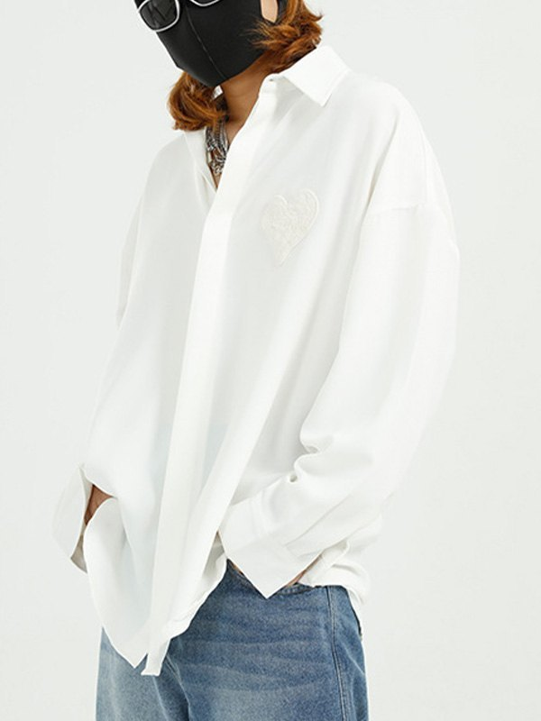 Men's Heart Patched Shirt - White M