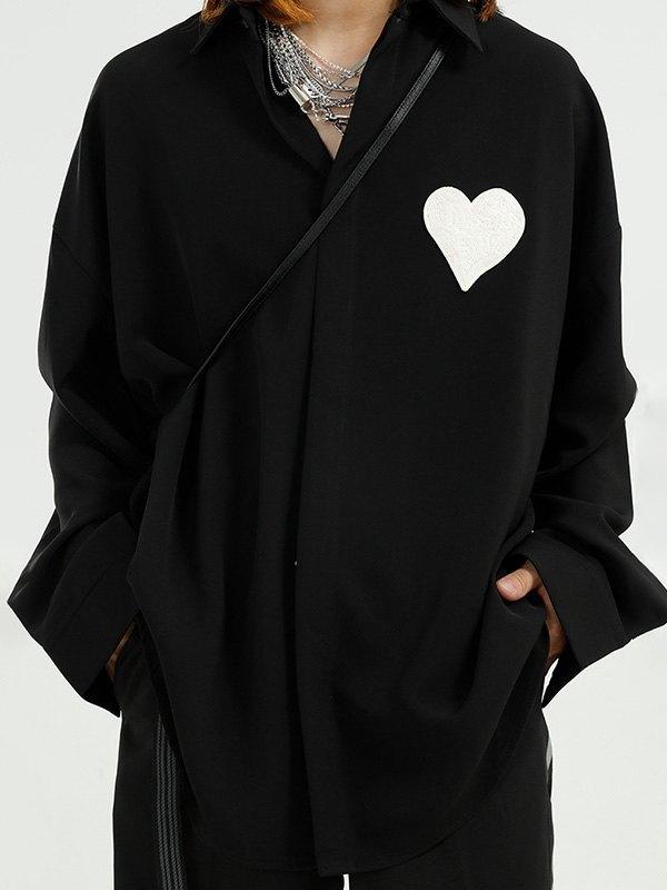 Men's Heart Patched Shirt - Black L