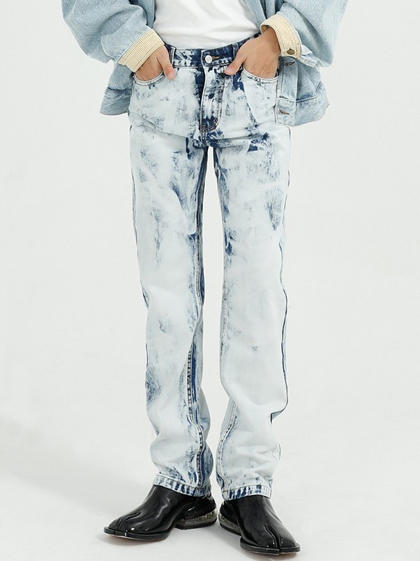 Men's Tie-Dye Straight Jeans - Blue M