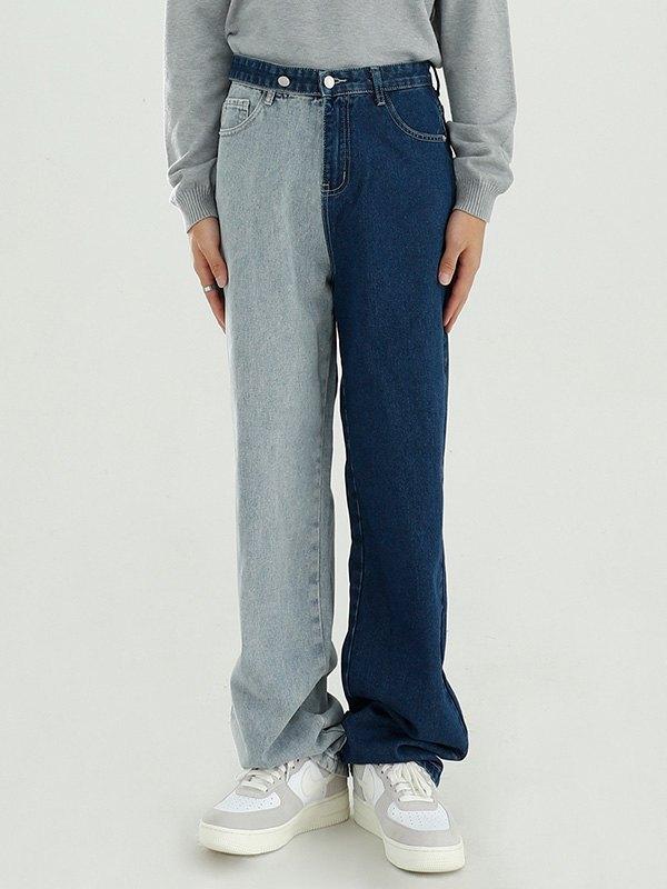 Men's Contrast Straight Leg Jeans - Blue S