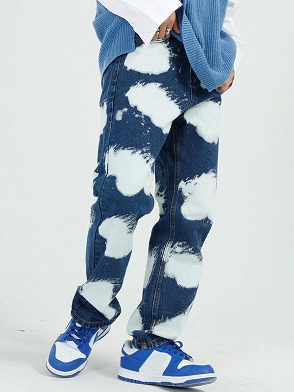 Men's Dye Printed Straight Jeans - Blue L