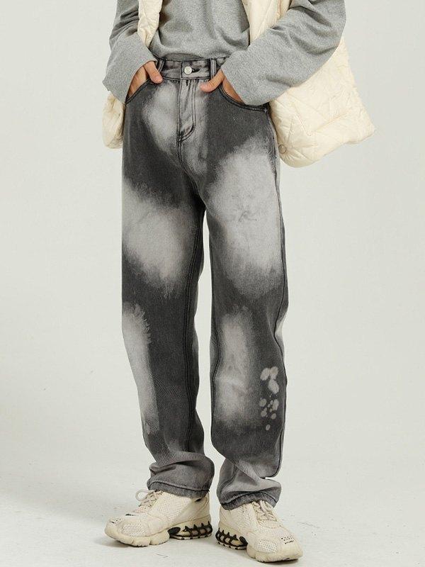 Men's Bleached Straight Jeans - Dark Gray L