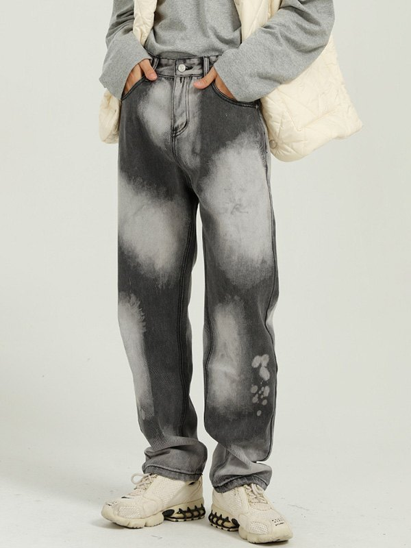 Men's Bleached Straight Jeans - Dark Gray S