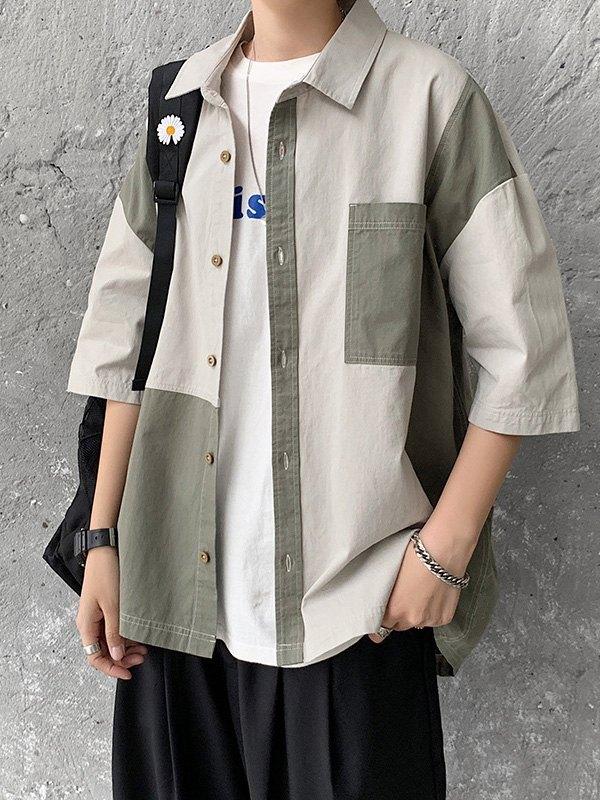 Men's Vintage Splice Shirt - Gray M