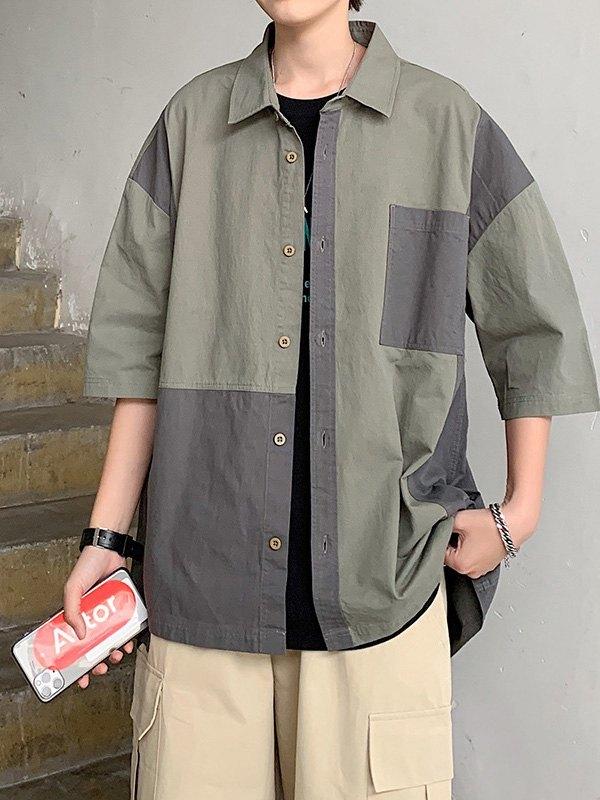 Men's Vintage Splice Shirt - Chive L