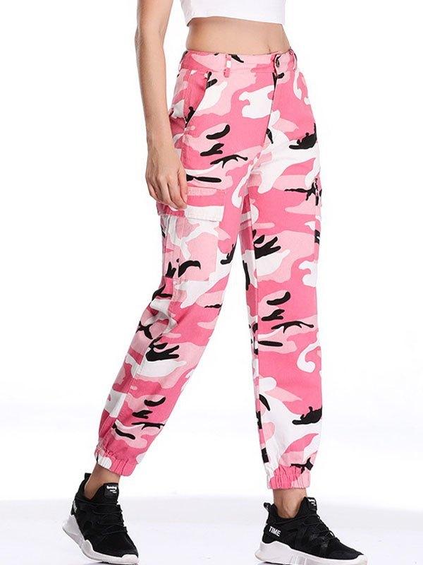 Camo Print Cargo Pants - Pink L