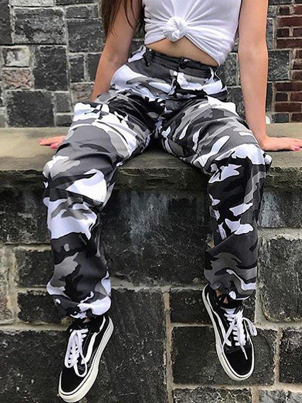 Camo Print Cargo Pants - Black S