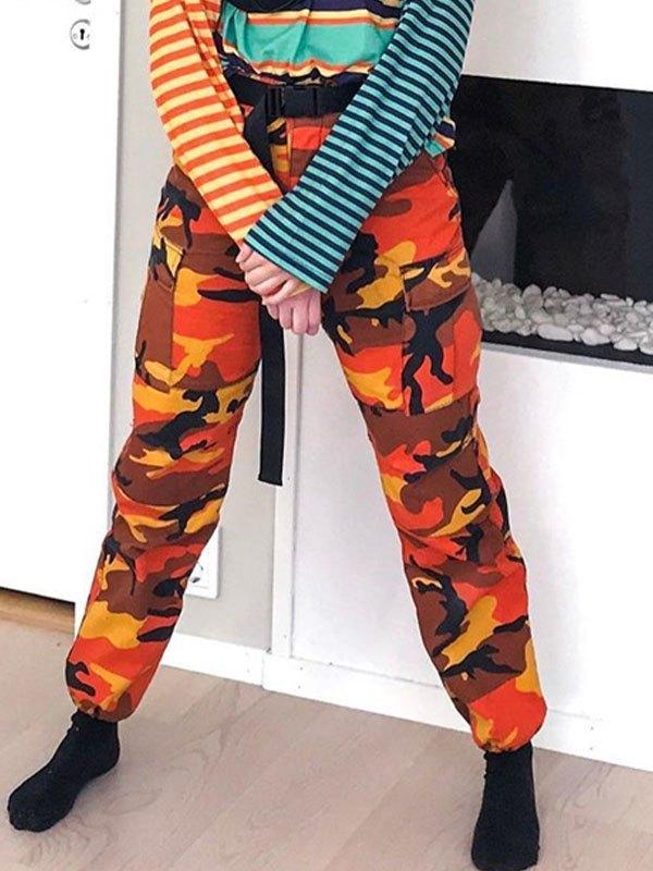 Camo Print Cargo Pants - Orange Red XL