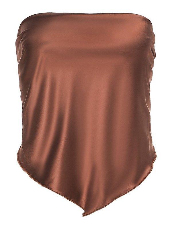 Lace-Up Asymmetric Bandeau Top - Brown S