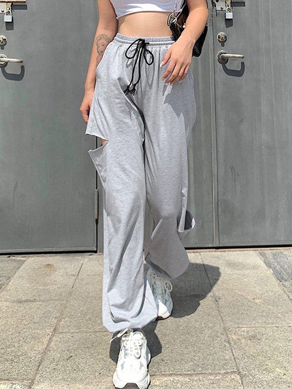 Side Ripped Jogger Pants - Gray L