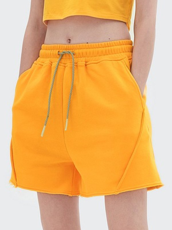 Straight Solid Sweat Shorts - Orange S