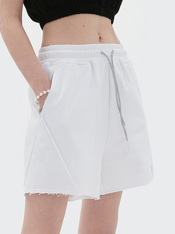 Straight Solid Sweat Shorts - White M