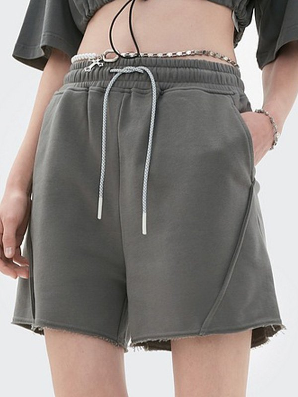 Straight Solid Sweat Shorts - Gray S
