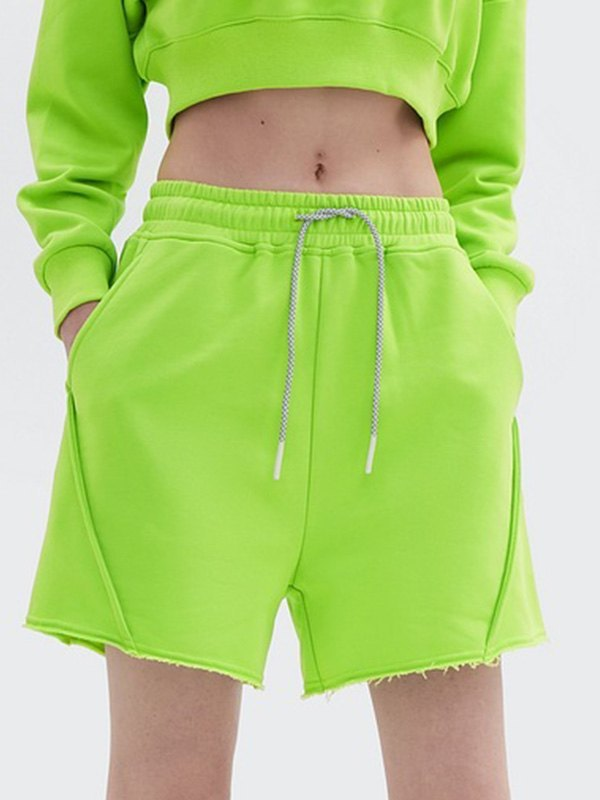 Straight Solid Sweat Shorts - Green L