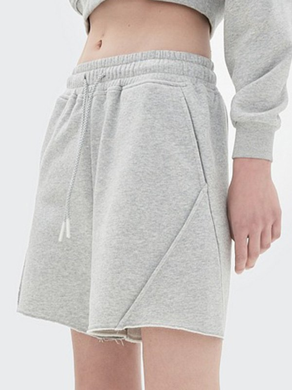 Straight Solid Sweat Shorts - Silver L