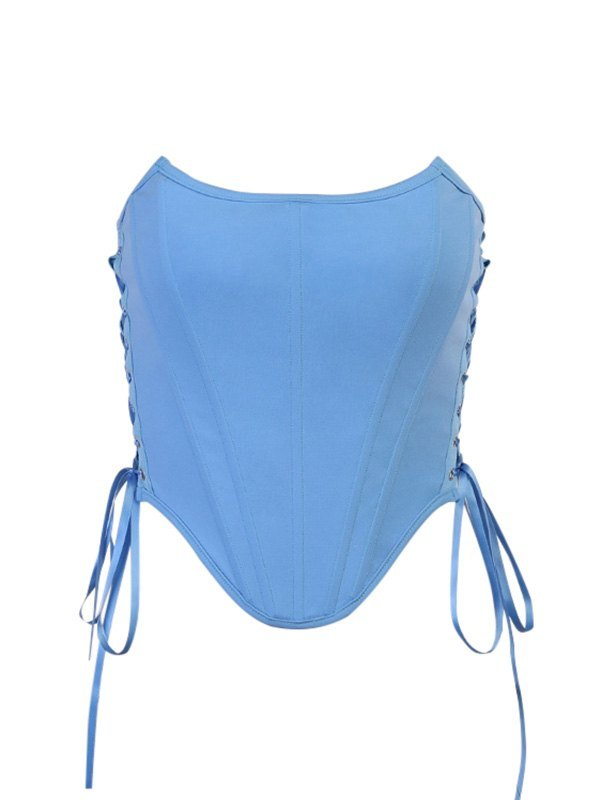 Side Tie Corset Bandeau Top - Blue M