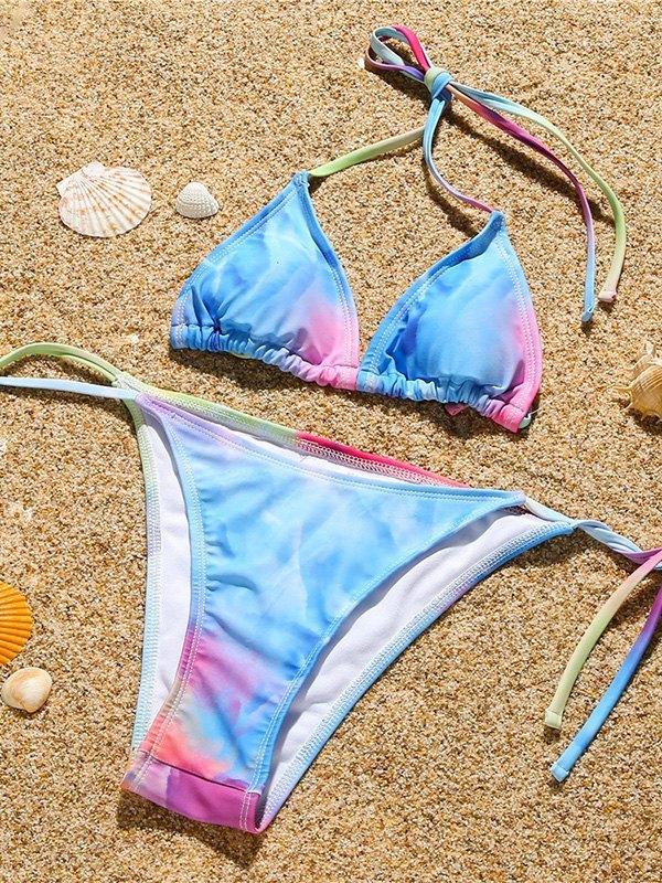 Tie Dye Three-piece Swimsuit - multicolorple Colors S
