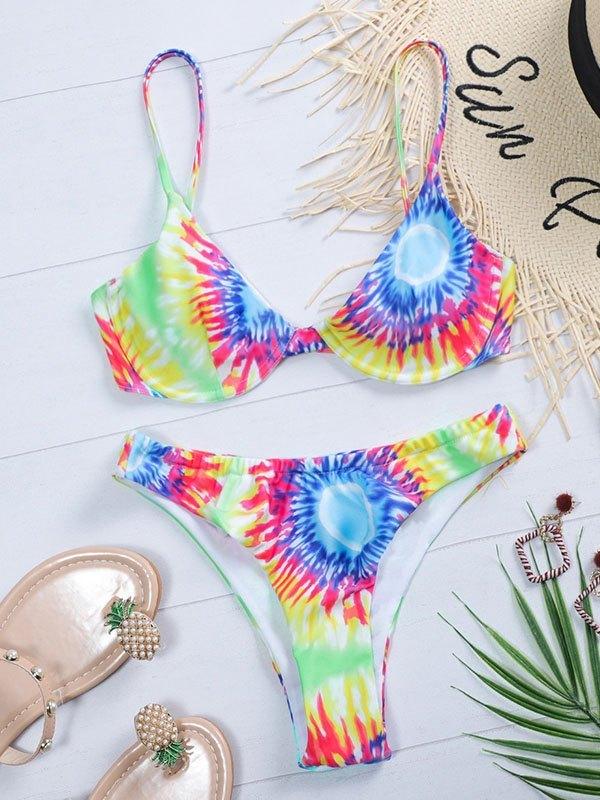 Multi Tie-Dye Bikini Set - multicolorple Colors S