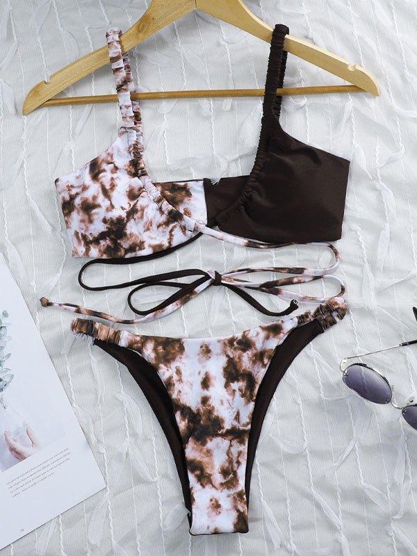 Cross Over Tie-Dye Bikini Set - Coconut Brown S