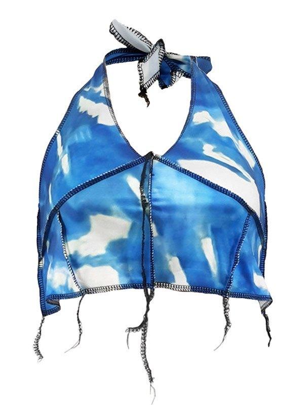 Tie-Dye Halter Crop Tank Top - Blue L