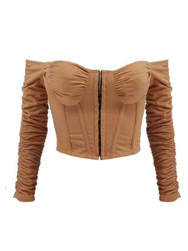 Off Shoulder Ruched Bustier - Camel S