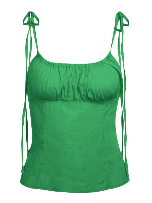 Ruched Solid Cami Top - Green L